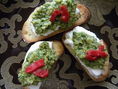 Goat Cheese and Green Olive-Toasted Almond Pesto Crostini