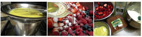 cooking curd in double boiler - macerating berries - trifle ingredients