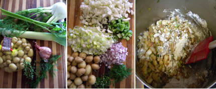 fennel, celery, leek, shallot, tiny potatoes, thyme and dill; mise en place; stirring in flour