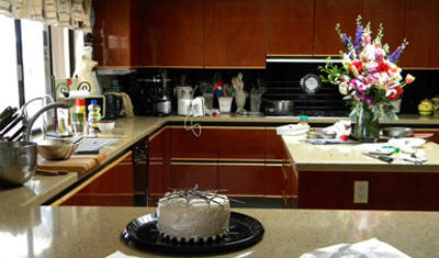 Beautiful birthday flowers in a scary and messy kitchen!