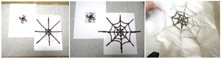 outline spider and web spokes, outline center, peeling off parchment