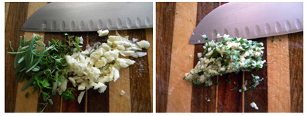 garlic, herbs and salt before - and after mincing into a paste