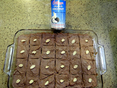 scored and garnished bars with creme of coconut can
