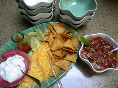 taco soup and garnishes