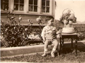 My Dad in front of his farmhouse on 7th Avenue and Missouri in Phoenix, Arizona on his 2nd birthday in 1933