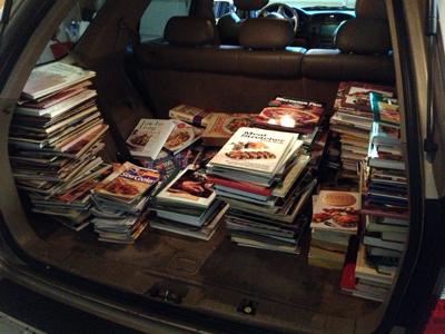 car full of books