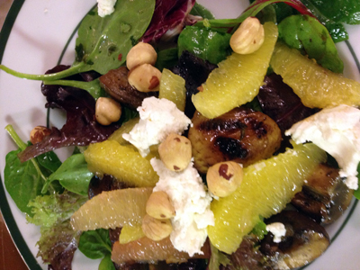 grilled mushroom and citrus salad with goat cheese