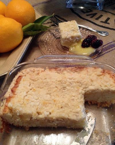 lemon curd yogurt crumb cake not much left