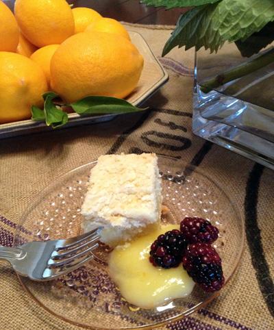 lemon curd yogurt crumb cake square