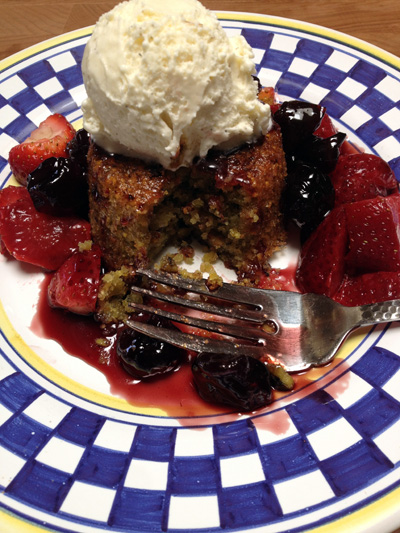 Polenta-Pistachio Cake with Olive Oil Cured Strawberries and Zinfandel-Cherry Syrup