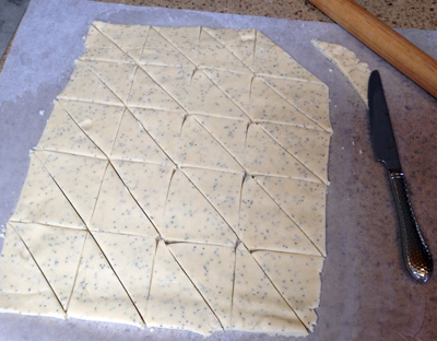 cut dough into chips