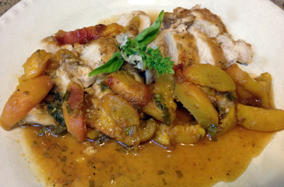 chicken with savory sweet peaches