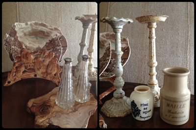 candle and mustard pots