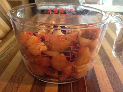 chopped stone fruit