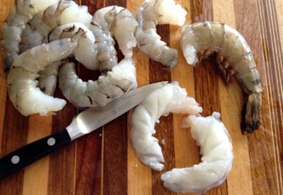 cut shrimp in half
