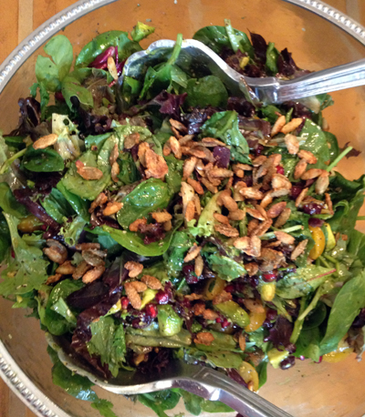 Salad with Cranberries, Avocado, Candied Spiced Pepitas and Sweet Balsamic Vinaigrette