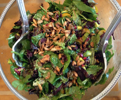 Salad with Crasins, Avocado, Candied Spiced Pepitas and Sweet Balsamic Dressing