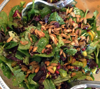 Salad with Crasins, Avocado, Candied Spiced Pepitas and Sweet Balsamic Vinaigrette