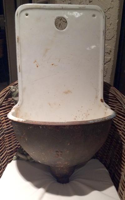 Great French Cast Iron Porcelain Enamel Sink