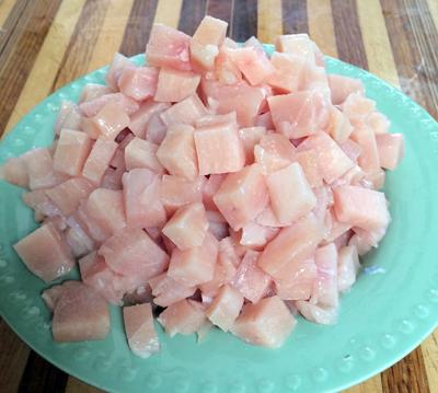 semi frozen chicken cuts easily