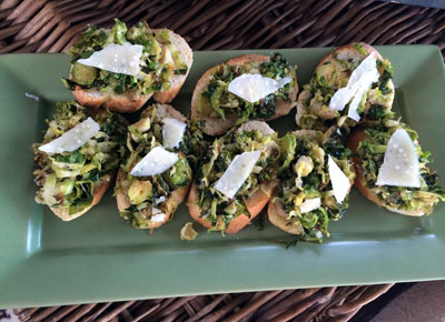Brussels Sprouts & Roasted Garlic Crostini