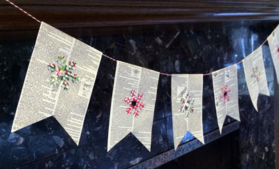 bunting on black fireplace