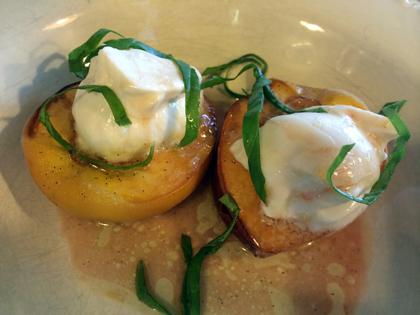 Vanilla-Honey Butter Roasted Peaches with Honey Yogurt and Basil Chiffonade