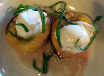 Vanilla-Honey Butter Roasted Peaches with Honey Yogurt and Basil Chiffonade1