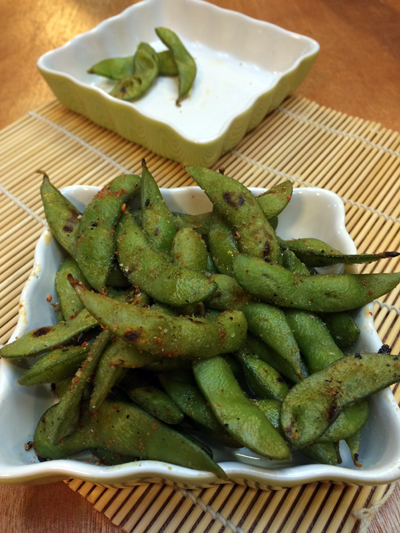 grilled edamame with japanese seven spice