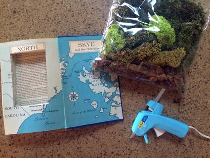 glue gun and moss