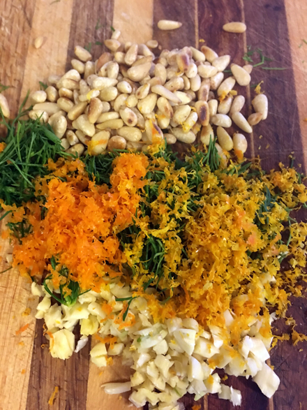 nuts, dill zest