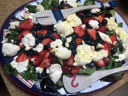 berry burrata almond salad