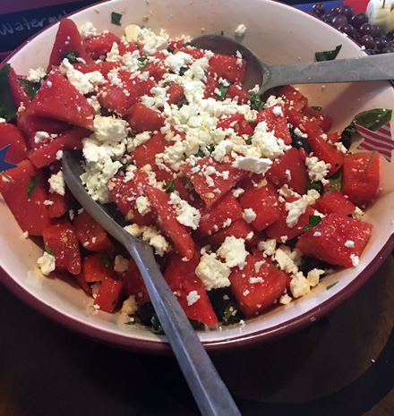 watermelon feta blueberry salad